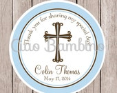 PRINTABLE Baptism Favor Tags / Favor Tags for Christening, Communion, Baptism, Baby Dedication, Confirmation / You Print / Baby Blue & Brown