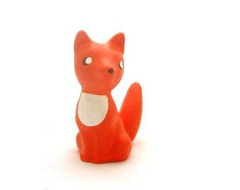 Handmade Chalkware Fox Dog Figurine - Orange