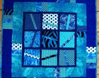 Blues, Aqua, Art Quilt Wall Hanging, Table Topper, Quiltsy Handmade, Table Decor