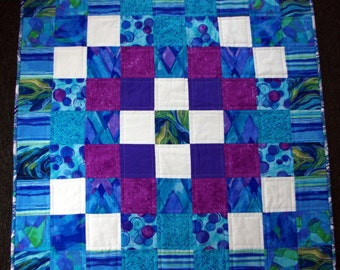 Blue Waves Quilted Wall Hanging, Table Topper, White, Purple, Quiltsy Handmade