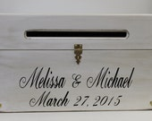 Wedding Card Box Rustic Wooden Chest Personalized Bride and Groom Names and Date Custom Wood Country shabby style Card Holder Money box Barn