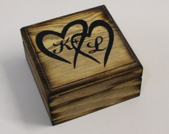 Rustic Wedding Ring Bearer wooden Box Country Personalized with Bride and Groom Initials and hearts Natural wood Pillow
