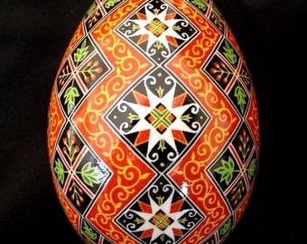 Red and Black Stacking Diamonds Pysanka Batik Egg Art EBSQ Plus