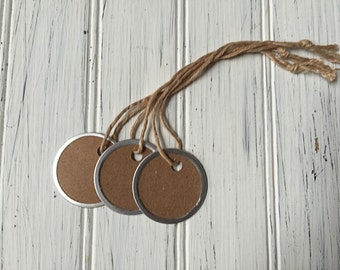 12 Mini Metal Rim Tags, Rustic Kraft Round Tags,  Country Tags, 1 1/4 inch tags, Craft Tags, Scrapbook Tags, Rustic ,T003, M01