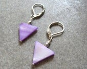 purple triangle triangle earrings geometric earrings modern earrings dangle earrings purple dangle silver earrings, Gift for Her Jewelry