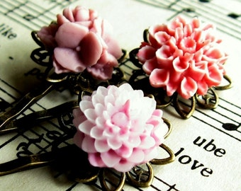 pink hairpin pink bobbypin Pink Flower hairpins flower bobby pin bobby pin set flower hairpin set romantic wedding gift for her gift