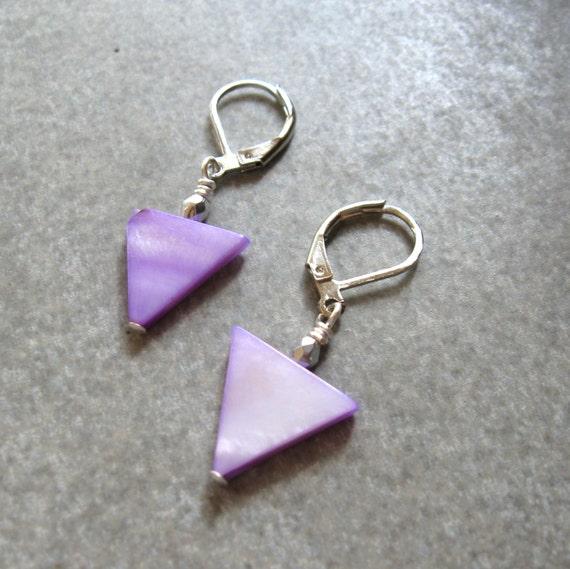 items similar to purple triangle triangle earrings geometric earrings modern earrings dangle. Black Bedroom Furniture Sets. Home Design Ideas
