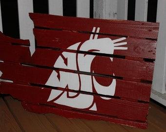 WSU Cougar - Washington State University Wood Pallet Sign - Handmade