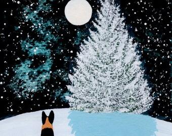 German Shepherd Dog Folk art PRINT by Todd Young FALLING SNOW