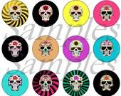 "1"" Inch Flatback Sugar Skull Buttons, Pins, Magnets 12 Ct. Set B"