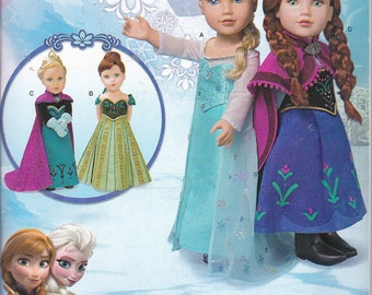 "Simplicity 1217 or  0747 Clothes For 18"" Dolls American Girl Doll Disney Frozen Elsa Anna Sewing Pattern New UNCUT"