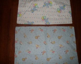 2 vintage handmade baby pillowcases.bunny theme,each different