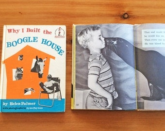 Boogle House, Kissed By a Seal at the Zoo: Vintage Childrens Books, Black and White Photos of Kids and Animals.  Mid Century 1960s.