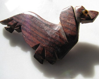 Vintage Folk Art Dachshund Wiener Dog Canine Wood Brooch Pin