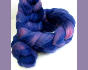 100% Merino Top Roving for Hand Spinners, Hand Dyed, Purple Haze