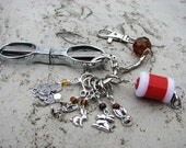 For the Love of Bunny Rabbits Knitter's Chatelaine with Non-Snag Stitch Markers, Row Counter & Folding Scissors on a Decorative Clasp