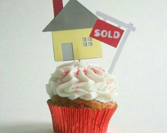 House and sold sign Cupcake Toppers Food Picks Appetizer Picks (set of 12)