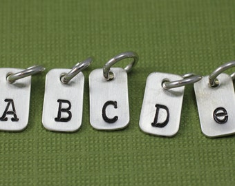 Tiny Rectangle Initial Charm; Sterling Silver Letter Charm