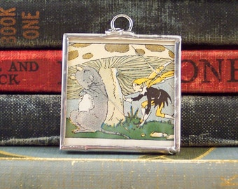 Fairy Charm - Fairy & Mouse Under a Mushroom Pendant - Fantasy Pendant - Soldered Glass Pendant with Vintage Book Art - Fairy Tale Necklace