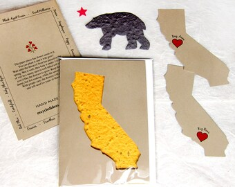 California Seed Cards - California State Plantable Seed Paper Gift Set - Flower Seed Thank You - Brown Bear and California Shape