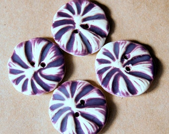 4 Handmade Stoneware Flower Buttons - Poppy buttons in Rich Purple
