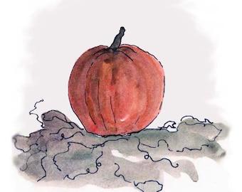 Pumpkin Note Cards Autumn Fall Halloween Orange Original Art Watercolor Print Rustic Stationery