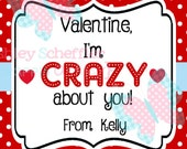 Valentine's Day Tag. I'm crazy for you. crazy straw valentine. Class Valentines. Printable Tag. PDF File.Personalized.Square Tag. Red