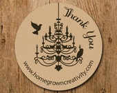 Customized Stickers - Brown Chandelier With Birds Thank You Stickers  - Labels - Wedding - Birthday Party - Thank You Stickers