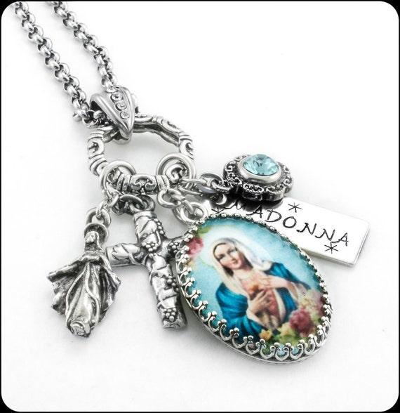 Christian Charm Bracelets: Madonna Religious Jewelry Madonna Necklace By
