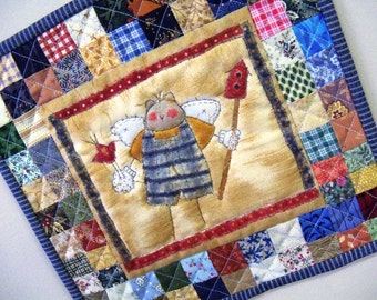 Wall hanging Patchwork country primitive cat