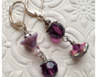 Earrings Beaded Purple and Amethyst flowers mismatched