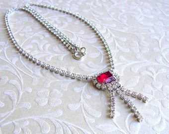 Red Rhinestone Waterfall Chain Fringe Necklace Vintage Jewelry Pageant Ballroom Formal Prom Bohemian Chic Scarlet Accessory Downton Gatsby