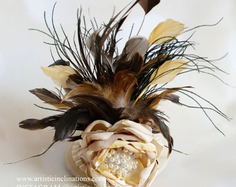Vintage Flare  - Gorgeous Ivory Mini Top Hat Embellished with a Handmade Couture Flower and Feathers