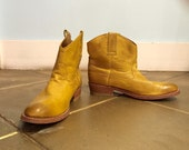 Mustard leather mid-calf cowboy booties 90's size 7.5-8 US