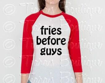 Unisex Graphic Tee, 3/4 Sleeve Shirt, Fries Before Guys Shirt, Women's Tshirt, Black White Raglan Sleeve Shirt for Teens Juniors Women