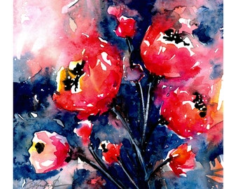 Poppies Abstract No. 21 ... art archival floral print from original painting by Kathy Morton Stanion EBSQ