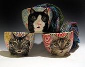 Cat Yarn Bowl - Made to Order Knitty Kitty Cat knitting bowl