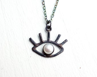 Black and White Eye Pendant- sterling silver and pearl