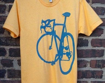 Bike Art T Shirt - Classic Road Racing Bicycle Tee in Blue on Yellow