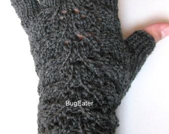 Charcoal Lovely Leaves Fingerless Gloves