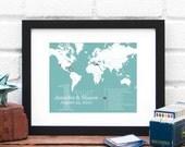 Custom World Map Long Distance Anniversary Gift Personalized Retirement Gift Travel Map One Year Anniversary Military Art - 8x10 Art Print
