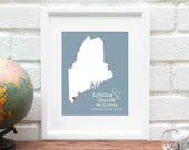Maine Map Print Valentine Gift for Her Maine State Print Personalized State Map Art Wedding Gift Enagagement Anniversary - 8x10 Art Print