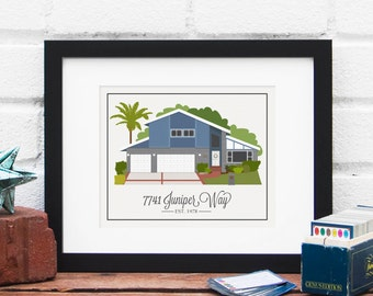 Meaningful Gift, Custom Home Illustration, New Home, First Home, Real Estate Closing Gift, House Art, Gift for Mom - 8x10 Art Print