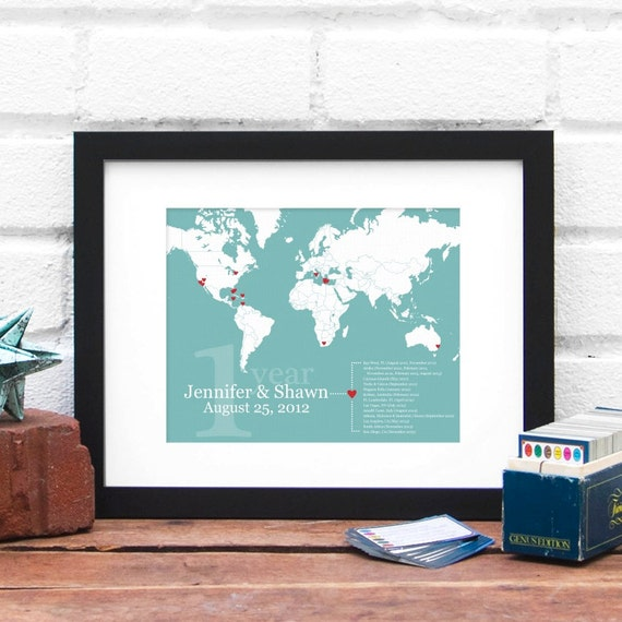 World Travel Map, Couples Anniversary Gift, World Map Print, Retirement Gift, One Year Anniversary Husband Gift, Gifts for Him Military Map