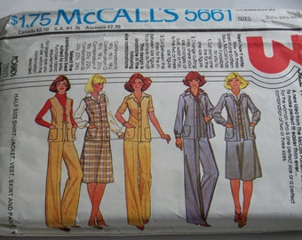 Vintage Pattern, McCall's Pattern, Pattern 5661, Vest Pattern, Jacket Pattern, Skirt Pattern, 1970's Vintage Pattern, Etsy, Etsy Vintage