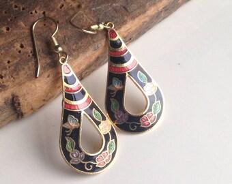 Vintage Earrings, Cloisonné Earrings, Drop Earrings, Vines and Flower Earrings, Vintage Enamel Earrings, Teardrop, Etsy, Etsy Jewelry,