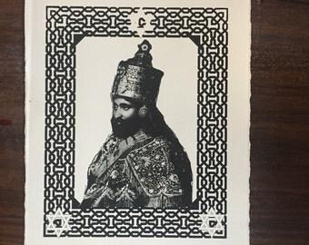 Haile Selassie hand printed mini poster. Rastafari, rasta, jah.