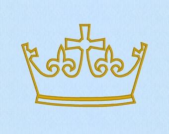 King's Crown applique machine embroidery design file - Cross - Fleur de Lis