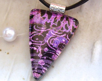 Dichroic Glass Pendant, Necklace, Fused, Glass Jewelry, Purple, Pink, Necklace Included, One of a Kind, A4
