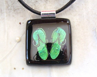 Dichroic Pendant, Glass Jewelry, Fused Glass, Flip Flops, Green, Necklace Included, A6